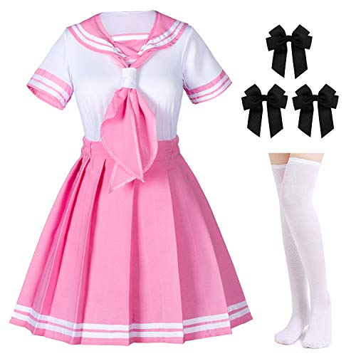 Classic Japanese Anime School Girls Pink Sailor Dress Shirts Uniform Cosplay Costumes with Socks Hai - http://coolthings.us
