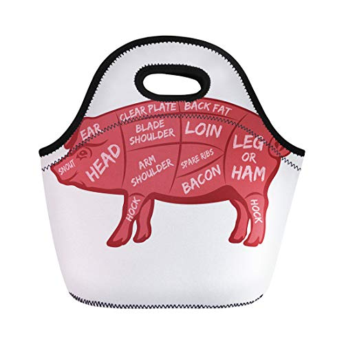 - Semtomn Neoprene Lunch Tote Bag Animal Cut of Meat Butcher Diagram Scheme and Guide Reusable Cooler Bags Insulated Thermal Picnic Handbag for Travel,School,Outdoors,Work