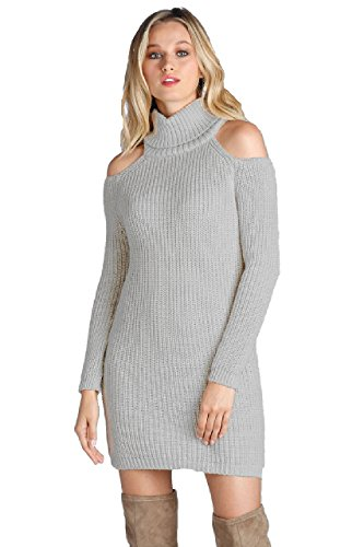 ELAN Women's Cold Shoulder Turtle Neck Sweater Dress (Gry, S)