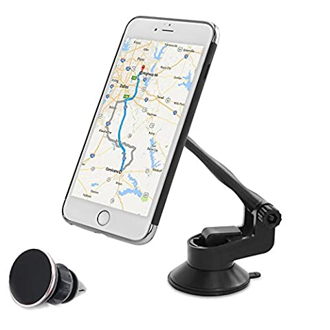 COFIT Phone Car Mount Stand with Washable Locking Suction Pad, 360°Rotation Universal for Smartphone, GPS, Mini Table - 1Pcs Magnetic Car Phone Holder, 1Pcs Air Vent Magnetic - Adhesive Back Cd