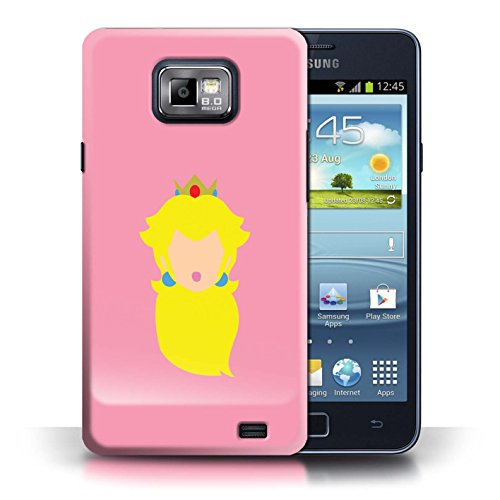 STUFF4 Phone Case/Cover for Samsung Galaxy S2/SII/Princess Peach Inspired Design/Retro Gaming Characters Collection (Princess S2 Galaxy Samsung Case)