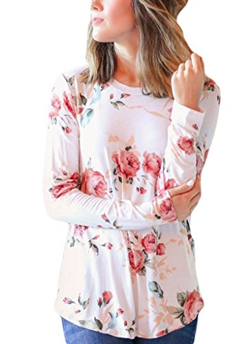White Floral Shirt - Sidefeel Women Casual Floral Printed Long Sleeve Blouse Tops Small White