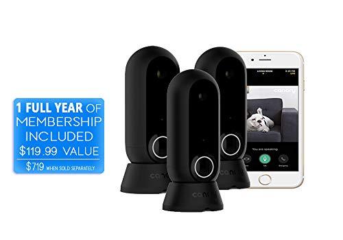 Canary Flex: 3 Camera Pack +1-Year Premium Membership | Indoor Outdoor Home Surveillance | Night Vision, Weatherproof, Wire-Free/Plug in | Motion Sensor Alerts, Black