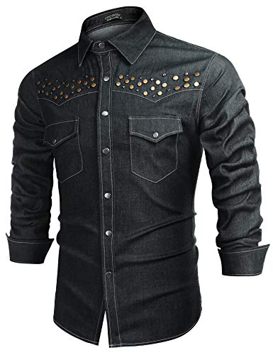 - COOFANDY Men's Denim Western Snap-Up Shirt Cowboy Cut Long Sleeve Button Shirts(Grey,S)