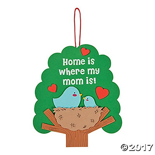 Set of 12 Home is Where My Mom Is Sign Foam Craft Project Kits for Mother's Day ()