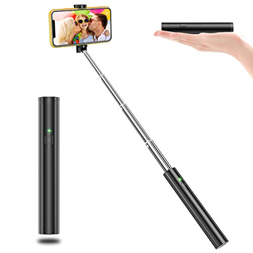 Vproof Selfie Stick Bluetooth, Lightweight Aluminum All in One Extendable Selfie Sticks Compact Design for iPhone Xs/XS max/XR/X/8/8 Plus/7/6s/6/5, Galaxy S10/S9/S8/S7/S6/Note, More