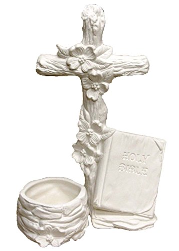 """Dogwood Cross 9"""" Candleholder Ceramic Bisque, ready to paint"""