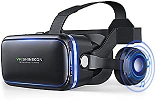 VR Headset Virtual Reality Headset,VR Glasses,VR Goggles -Compatible for iPH 7/7+/6s/6 +/6/5, Samsung Galaxy, Huawei, Google, Moto & All Android Smartphone with Headphones & Adjustable Eye Care System