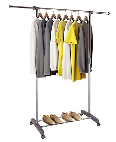 proaid single portable clothes rack rolling clothing hanging rod rack adjustable garment rack. Black Bedroom Furniture Sets. Home Design Ideas