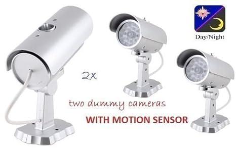 Ezi-Tech - 2 Cámaras de Seguridad Falsas CCTV con Sensor de Movimiento LED Exterior Resistentes al Agua: Amazon.es: Electrónica