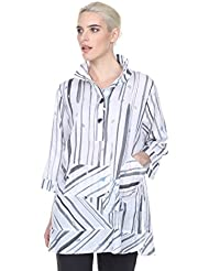 Terra-SJ Apparel Womens 3/4 Sleeve Blouse with Convertible Collar (Large, Black)