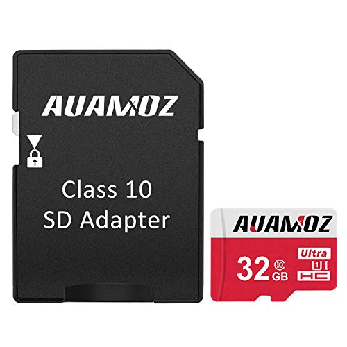 Micro SD Card 32GB, AUAMOZ MicroSDHC Class 10 UHS-I Card for Phone, Tablet and PCs - with Adapter -