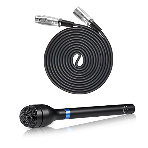 Movo Pro Recording Bundle with Dynamic Omnidirectional Handheld XLR Reporter Microphone, and Balanced Male-to-Female XLR Microphone Cable (10 Foot)