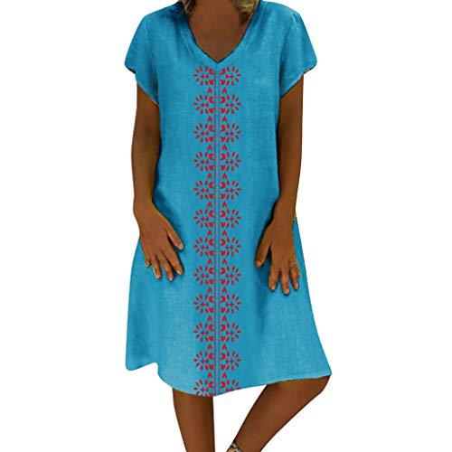 (Sttech1 Women's Summer Printed Linen Dress Plus Size S-5XL Blue)