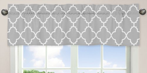 Gray and White Trellis Collection Window Valance