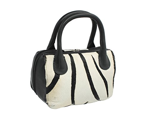 Mala Leather MATRAH Collection Leather Animal Print Grab Bag 7105_90 Zebra Zebra