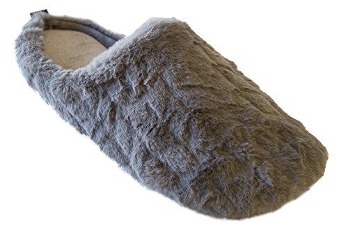 Isotoner Womens Chevron Fur Gina Hoodback Faux Fur Slipper Ash NBw0tt3i7