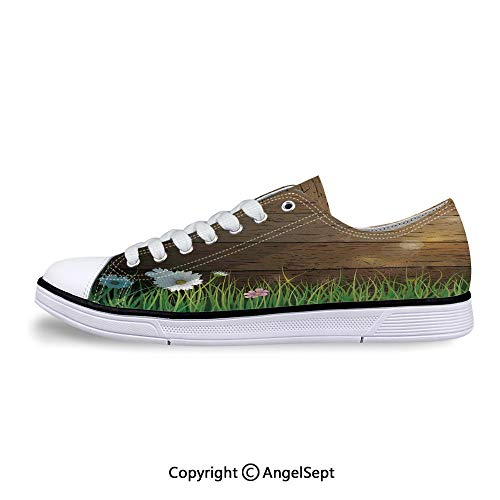 Low Top Canvas Shoes Front of Wooden Fence Sunny Lace Up Sneakers