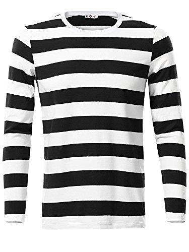 KIRA Mens White Striped Shirt Men Round Neck Holiday Shirts(Black,L)