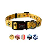 QQPETS Dog Collar Personalized Soft Comfortable Adjustable Puppy Collars for Extra Small Dogs Daily Use Walking (XS, Yellow Bee)