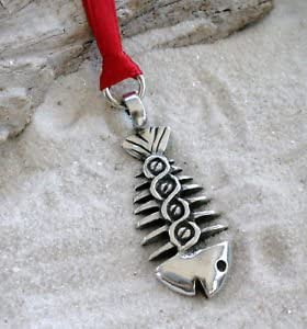 40G Silver PEWTER Fishing FISH BONE PENDANT Necklace