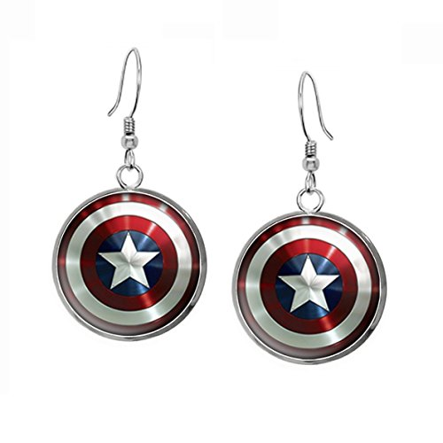 captain america earrings captain america necklace the jewelry shield 6227