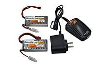 Blomiky 2 Pack 7.4V 1500mAH Lipo Battery and USB Charger for RC Quadcopter Drone RC Truck Boat Car 7.4V 1500mAh T