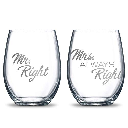 (Mr. Right & Mrs. Always Right 21oz. Etched Stemless Wine Glasses   2 Glass Set Packed in an Stylish Gift Box   Premium Hand Etching   The Perfect Couples Gift)