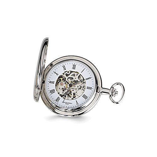 Charles Hubert Chrome-finish White Skeleton Dial Pocket Watch ()