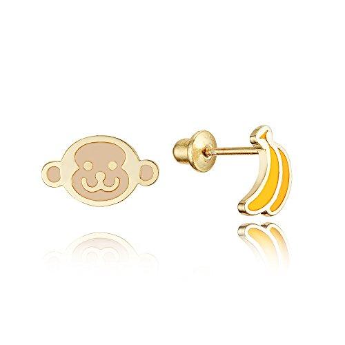 (14k Gold Plated Enamel Monkey Banana Baby Girls Earrings with Sterling Silver Post)