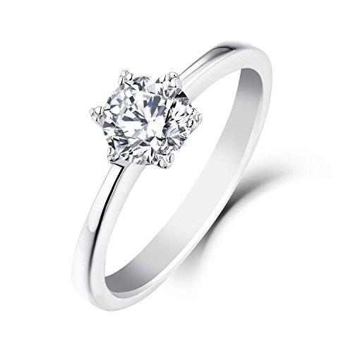 YL 9 ct White Gold 0.8Ct Moissanite Engagement Wedding Ring(SizeS)