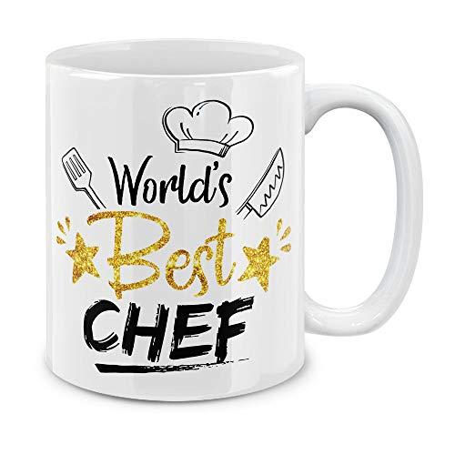 MUGBREW Funny Humor Satire Mugs, World's Best Chef Ceramic Coffee Gift Mug Tea Cup, 11 -