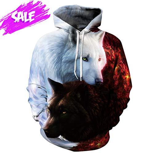 NEWCOSPLAY Unisex Harajuku Realistic 3D Digital Print Pullover Hoodie Hooded Sweatshirt Sweaters (S/M, White Brown Wolf)