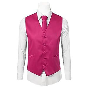 JD Apparel Men's 3 Pieces Tie Solid Formal Tuxedo Vest Tie 2XLarge Fuchsia