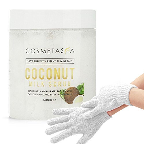 - Coconut Milk Body Scrub with Exfoliating Gloves: Deep Moisturizing & Nourishing With Dead Sea Minerals |Exfoliates, Clears Eczema, Removes Wrinkles, Rejuvenates | 12 Ounce Skin Care Formula