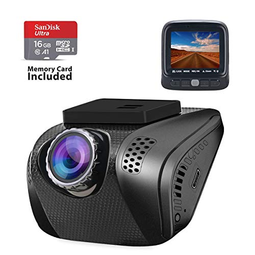 Dash Cam, Acumen 1080P Car Camera FHD Driving Recorder Vehicle Camera with Wide Angle WDR Sony Sensor G-Sensor Motion Detection Parking Monitor Loop Recording 16GB Card - Front Camera Only (Black)