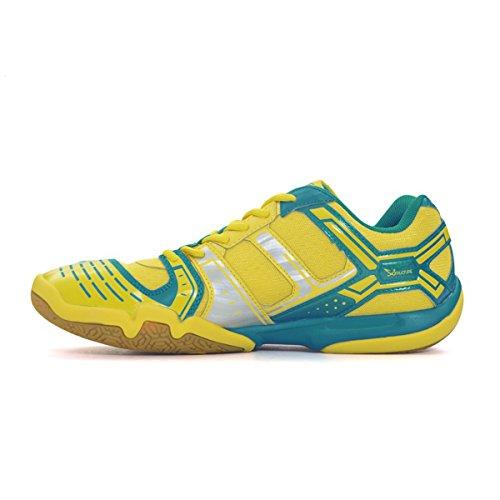 LI-NING Mens Saga TD Professional Badminton Sports Shoes Yellow/Blue/Silver nfTB3