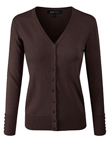 Cotton Nylon Cardigan - ELF FASHION Women Top Long Sleeve Button V-Neck Knit Sweater Cardigan (size S~3XL) BROWN 1XL