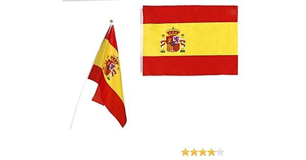 Atosa-22191 Atosa-22191-Banderin De España con Mastil Plastico 45X30 cm-Mundial De Fútbol Y Deportes, Color Rojo y Amarillo (22191): Amazon.es: Juguetes y juegos