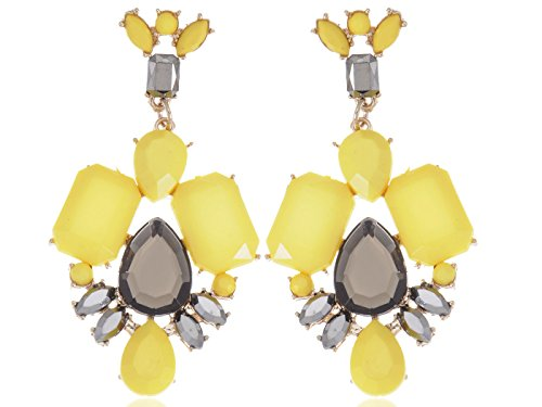 Alilang Chunky Gold Toned Enamel Yellow Post Dangle Earrings With Teardrop Grey Rhinestone Accents