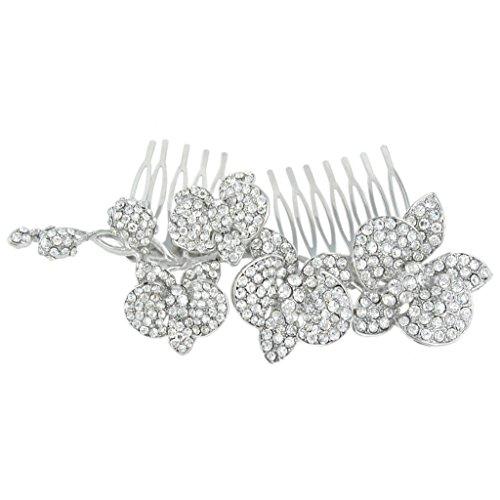 EVER FAITH Women's Austrian Crystal 5 Inch Wedding Orchid Flower Bud Hair Side Comb Clear Silver-Tone