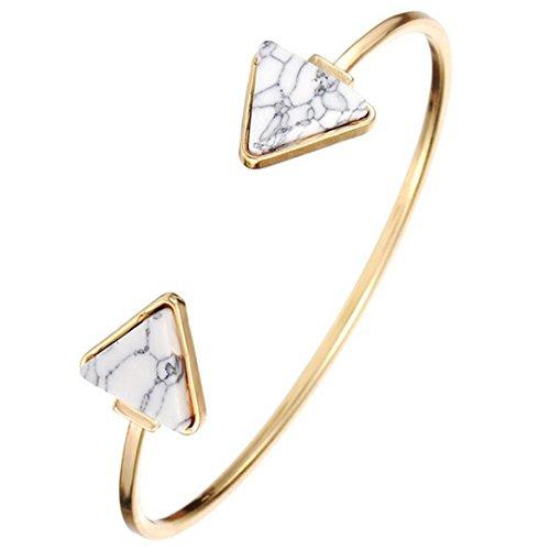 Sunnywill Retro-stilvolle offene Armreif Dreieck Marmor Türkis Stein Manschette Armband Schmuck für Frauen Mädchen Damen (Weiß)