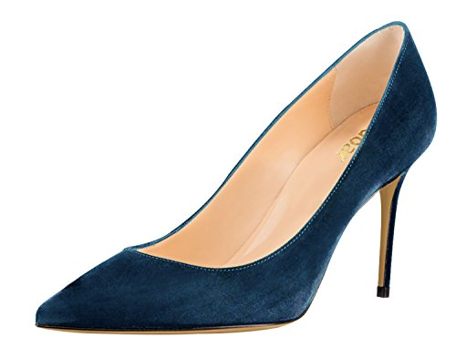 Guoar Womens Pointed Toe High Heel Shoes Stiletto Comfort Suede Pumps Dress Shoes size 5 - 12 Dark Teal US 8