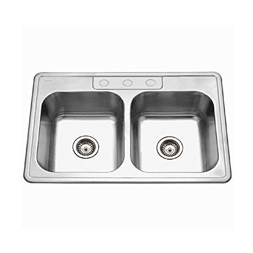 Houzer A3322-65BS3-1 ADA Glowtone Series Topmount Stainless Steel 3-hole 50/50 Double Bowl Kitchen Sink by (1 Glowtone Double Bowl)