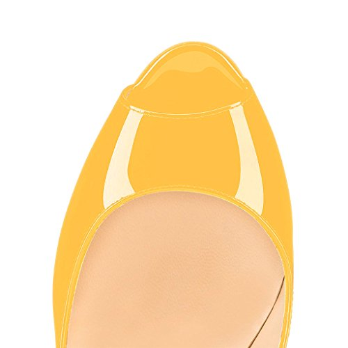 Brevetto Noi Vestito Lucidi Lusinghieri Donne Punta Alti Scarpe Aperta 15 Pompe Di A Giallo Del Tacchi 4 Dimensioni Convenzionale Fsj Bq4pxp