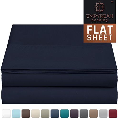 Premium Flat Sheet - Luxurious & Soft King Size Linen Flat Navy Blue Sheets - Hotel Quality Brushed Microfiber (Single) Flat Bed Sheet Hypoallergenic Bedroom Essentials By Empyrean Bedding (King Flat Blue Sheet)