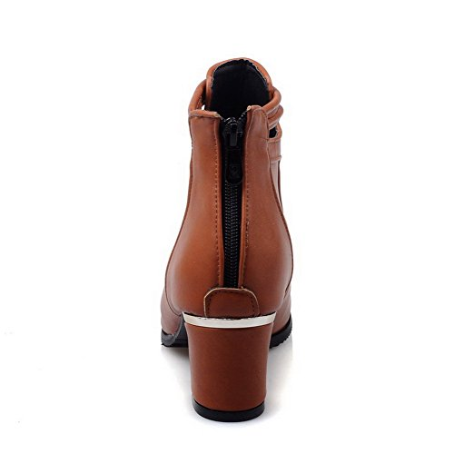 AmoonyFashion Womens Solid Kitten-Heels Pointed Closed Toe PU Zipper Boots, Brown, 44