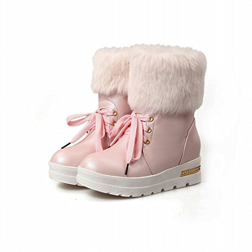 Carolbar Vrouwen Lace-up Decoraties Namaakbont Zoete Schattige Lolita Cosplay Verborgen Hak Snowboots Roze