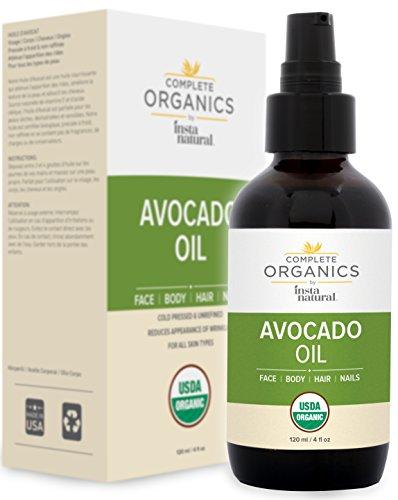 Organic Avocado Oil - 100% Pure, Non-GMO, Unrefined, Food Grade and Holistic - Complete Organics by InstaNatural - 4 oz from InstaNatural