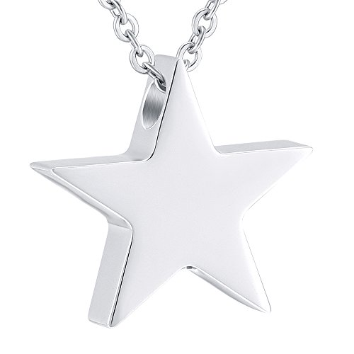 love of life HLN8453 Top Polishing Star Cremation Urns for Human Ashes Adult Funeral Charm Jewelry ()
